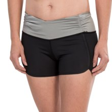 Cozy Orange Gemini Yoga Shorts (For Women) in Raven Black/Frost Gray - Closeouts