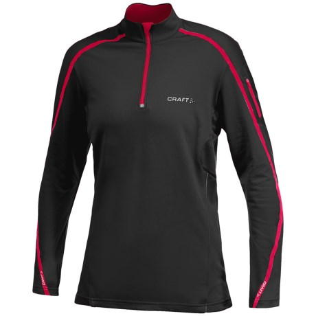 Craft High-Performance Run Thermal Shirt - Long Sleeve (For Women) in Black/Russian Rose