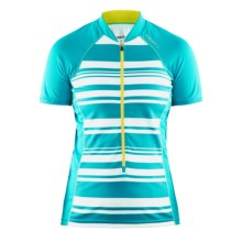 Craft Path Cycling Jersey - UPF 25+, Short Sleeve (For Women) in Resort/White/Vega - Closeouts