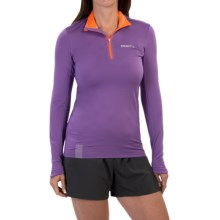 Craft Sportswear Facile Pullover Shirt - Zip Neck, Long Sleeve (For Women) in Lilac/Flourange - Closeouts
