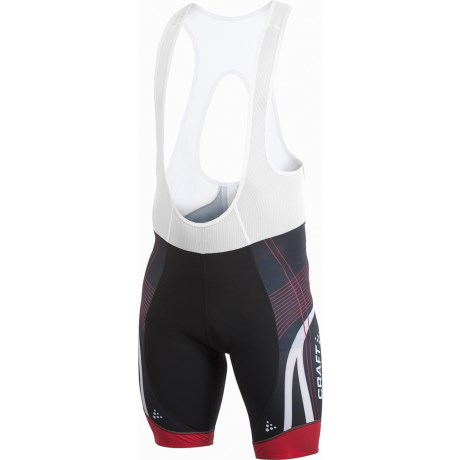 Craft Sportswear High-Performance Bike Tour Bib Shorts (For Men) in Black/Red/White