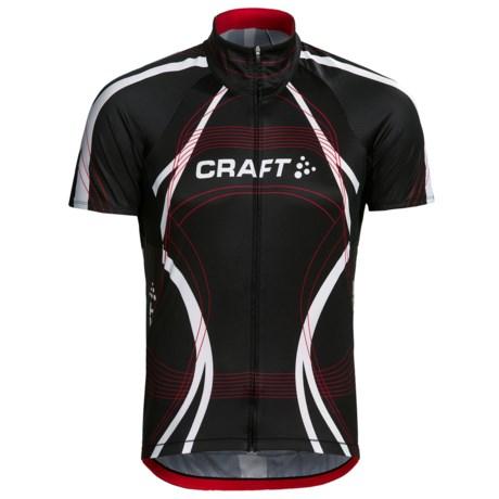 Craft Sportswear High-Performance Bike Tour Jersey - Short Sleeve, Full Zip (For Men) in Black/Red/White
