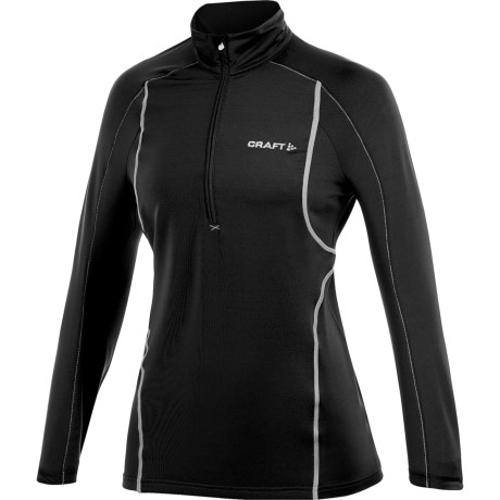 Craft Sportswear High-Performance Lightweight Stretch Pullover - Zip Neck, Long Sleeve (For Women) in Black