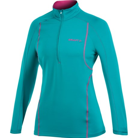 Craft Sportswear High-Performance Lightweight Stretch Pullover - Zip Neck, Long Sleeve (For Women) in Laser