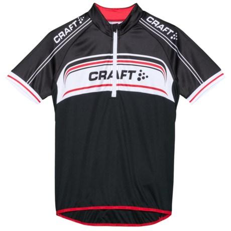 Craft Sportswear JB Logo Cycling Jersey - UPF 50+, Zip Neck, Short Sleeve (For Kids) in Black/White