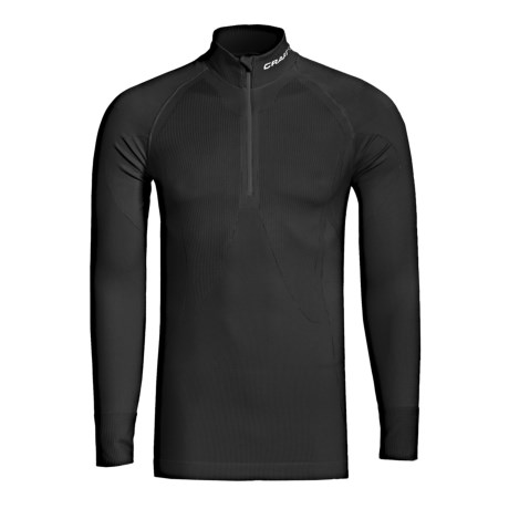 Craft Sportswear Pro Warm Base Layer Top - Zip Neck, Lightweight, Long Sleeve (For Men) in Black