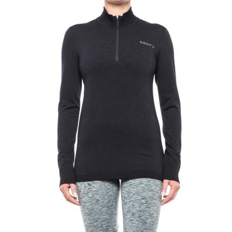 Craft Sportswear Wool Comfort Shirt - Zip Neck, Long Sleeve (For Women) in Black