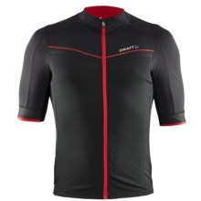 Craft Tech Aero Cycling Jersey - Full Zip, Short Sleeve (For Men) in Black/Bright Red - Closeouts