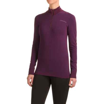 Craft Wool Comfort Shirt - Zip Neck, Long Sleeve (For Women) in Space - Closeouts