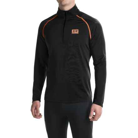Craghoppers Bear Core Tech Shirt - Zip Neck, Long Sleeve (For Men) in Black Pepper/Black - Closeouts
