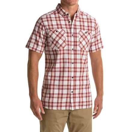 Craghoppers Edmond Shirt - Cotton-Linen, Short Sleeve (For Men) in Brick Red Check - Closeouts