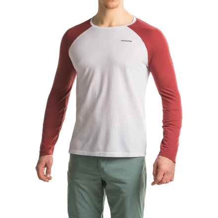 Craghoppers NatGeo Insect Shield® Goddard T-Shirt - Crew Neck, Long Sleeve (For Men) in Light Grey Marl/Brick Red - Closeouts