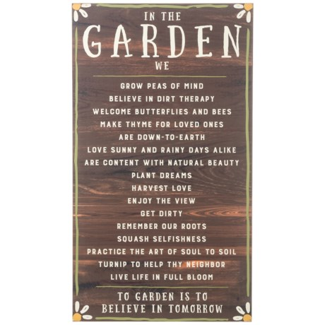 """Creative Co-op 18x31.75"""" In the Garden Wall Decor in Brown/White"""