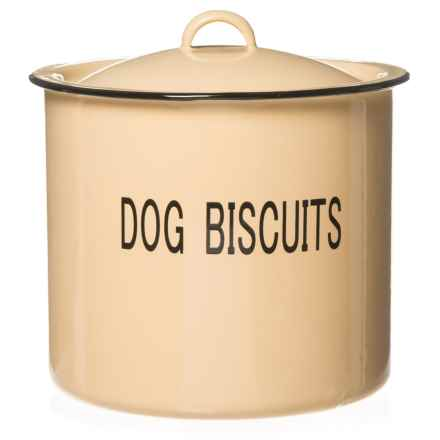 "Creative Co-op Round ""Dog Biscuits"" Enamel Metal Treat Jar with Lid - 8.5"" in Light Yellow - Closeouts"