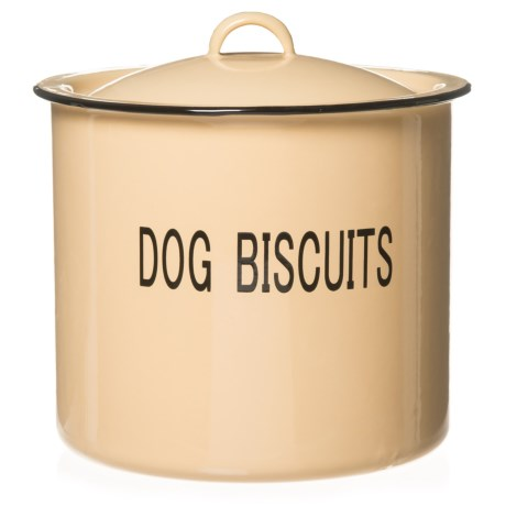"""Creative Co-op Round """"Dog Biscuits"""" Enamel Metal Treat Jar with Lid - 8.5"""" in Light Yellow"""