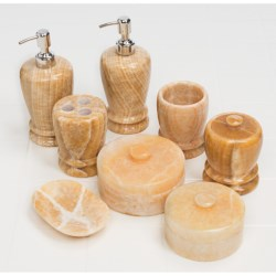 Creative Home Double Rings Marble Bathroom Accessories Set - 8-Piece in Caramel Marble