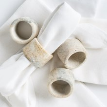 Creative Home Marble Napkin Rings - Set of 4 in Fossil - Closeouts
