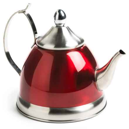 Creative Home Nobili Tea Kettle with Infuser - 1 qt., Stainless Steel in Cranberry - Closeouts