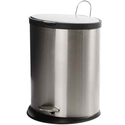 Creative Home Soft Close Oval Trash Can - 20L in Stainless Steel/Black - Closeouts