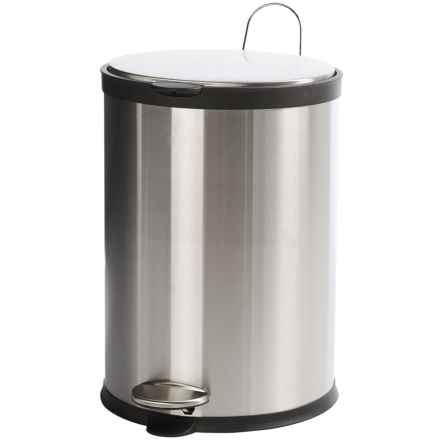Creative Home Soft Close Round Trash Can - 20 Liter in Stainless Steel/Black - Closeouts
