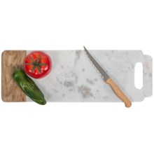 Creative Home Taj Elite Collection Cutting/Serving Board - Marble, Mango Wood in White Marble/Wood - Closeouts