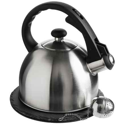 Creative Home Tea Kettle Set with Trivet and Infuser - 1.5 qt. Kettle in Stainless Steel - Closeouts