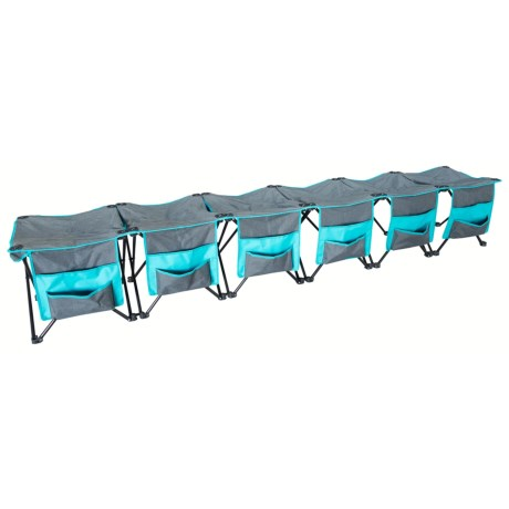 Creative Outdoors 6 Person Curved Straight Bench In Teal Grey