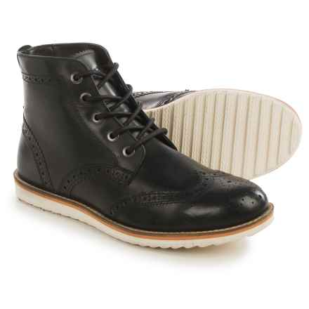 Crevo Boardwalk Wingtip Boots - Leather (For Men) in Black - Closeouts