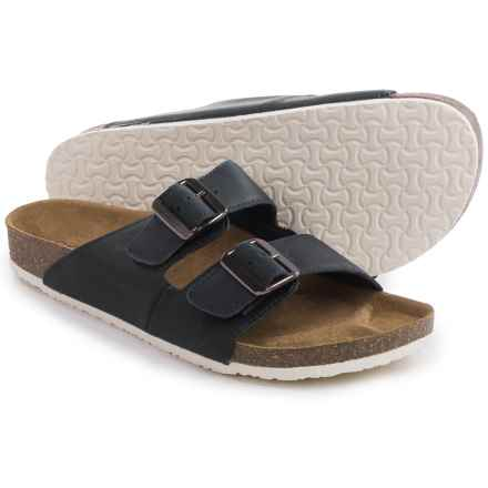 Crevo Double Buckle Sandals - Leather (For Men) in Navy - Closeouts
