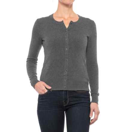 Crew Neck Cardigan Sweater (For Women) in Charcoal Heather - 2nds