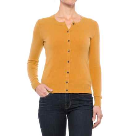 Crew Neck Cardigan Sweater (For Women) in Curry - 2nds
