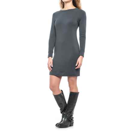 Crew Neck Dress - Long Sleeve (For Women) in Grey - 2nds
