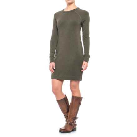 Crew Neck Dress - Long Sleeve (For Women) in Olive - 2nds