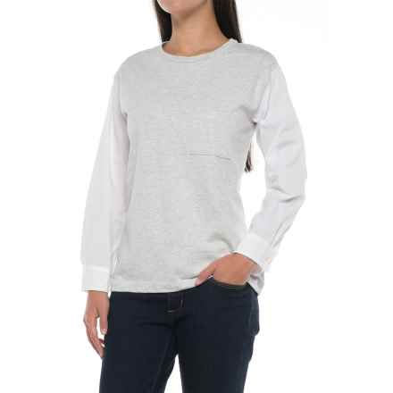 Crew Neck Pocket T-Shirt - Long Sleeve (For Women) in White - 2nds