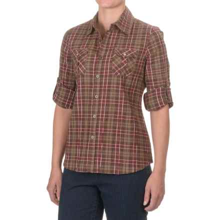 Crinkle Cotton 2-Pocket Plaid Shirt - Long Sleeve (For Women) in Burgandy - 2nds