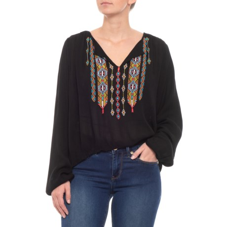 Image of Crinkle Gauze Blouse with Embroidery - V-Neck, Long Sleeve (For Women)
