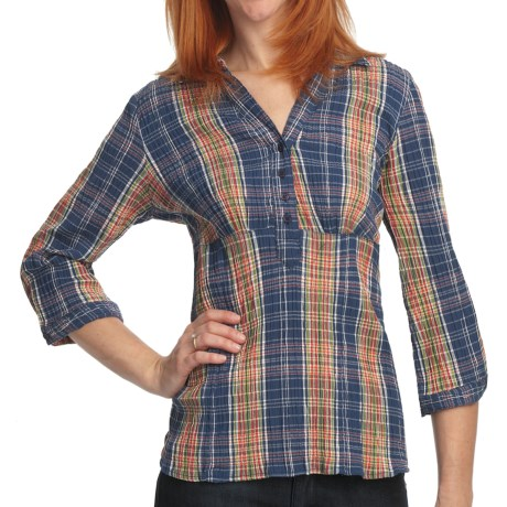 Crinkle Plaid Shirt - Stretch Cotton, 3/4 Sleeve (For Women) in Navy Plaid
