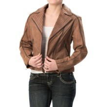 Cripple Creek Asymmetric Studded Leather Jacket (For Women) in Saddle - Closeouts