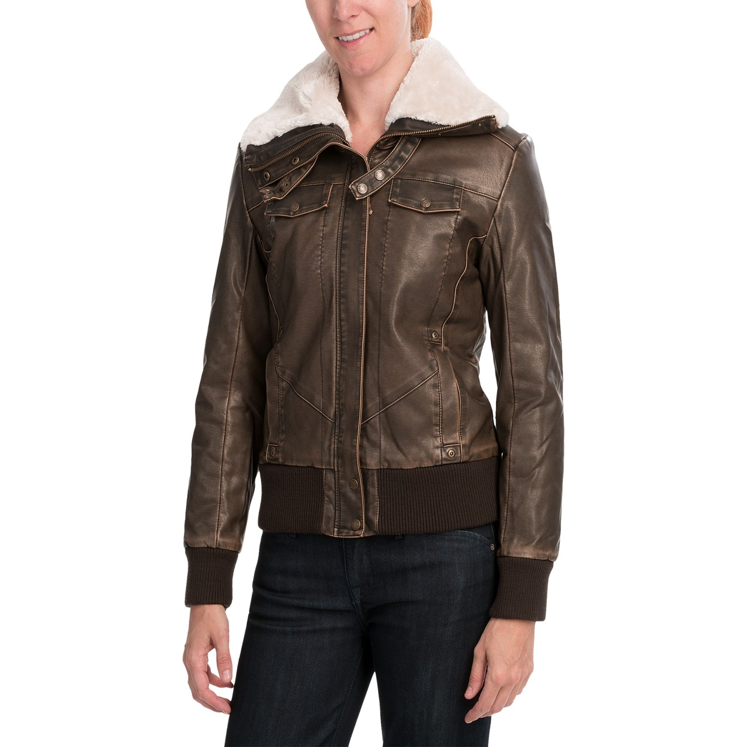 Cripple Creek Aviator Jacket - Faux Leather (For Women) in Antique