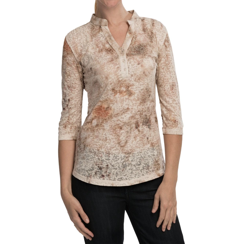 Cripple creek burnout henley shirt 3 4 sleeve for women for 3 4 henley shirt