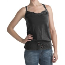 Criss-Cross Back Tank Top - Drawstring Waist (For Women) in Black - 2nds