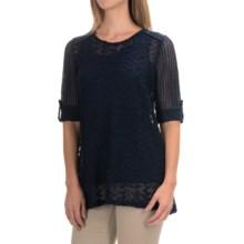 Crochet Knit Shirt - Long Sleeve (For Women) in Navy - 2nds