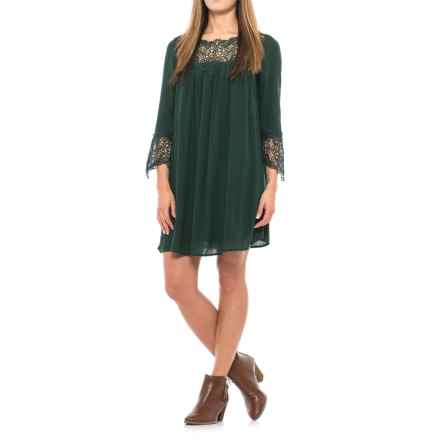 Crochet-Trim Dress - Long Sleeve (For Women) in Green - 2nds
