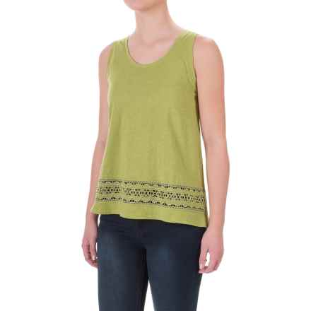 Crochet-Trim Flyaway Shirt - Sleeveless (For Women) in Green - 2nds