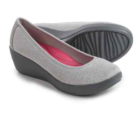 Crocs Busy Day Heathered Ballet Wedge Shoes - Slip-Ons (For Women) in Light Grey - Closeouts
