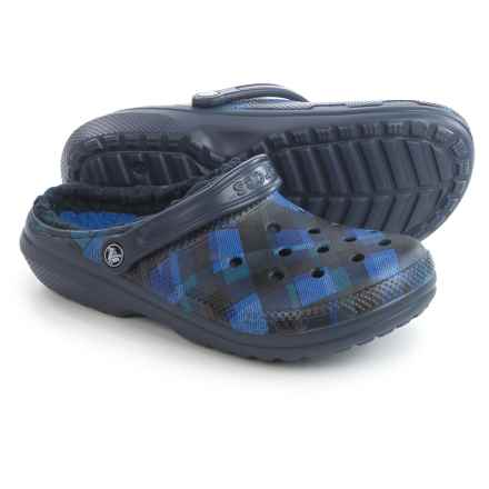 Crocs Classic Fuzz Lined Graphic Clogs (For Men and Women) in Navy/Cerulean Blue - Closeouts