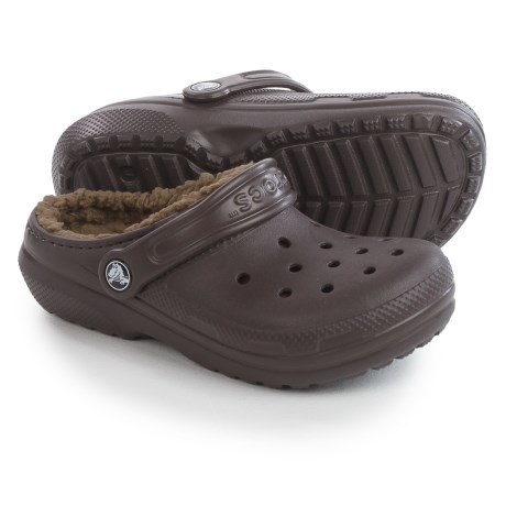 Crocs Classic Lined Clogs (For Little and Big Kids) in Espresso/Khaki