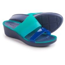 Crocs Color-Block Mini Wedge Sandals (For Women) in Tropical Teal/Nautical Navy - Closeouts