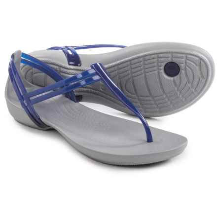 Crocs Isabella T-Strap Sandals (For Women) in Cerulean Blue - Closeouts