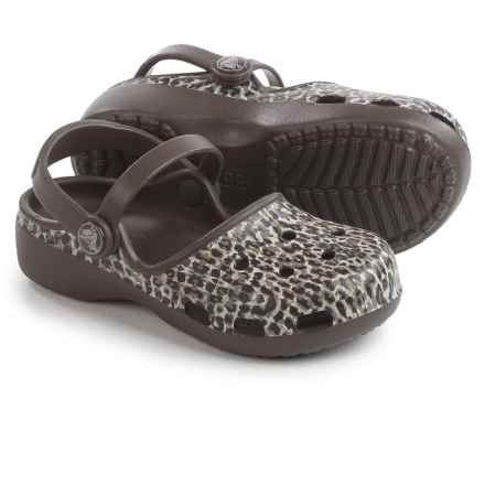Crocs Karin Leopard Clogs (For Little and Big Girls) in Black - Closeouts
